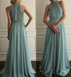 Ruffled Prom Dresses,High Neckline Prom Gowns,Modest Prom Dresses,2016 Party Dresses 2016,Long Prom Gown,Chiffon Prom Dress,Beautiful Evening Gowns