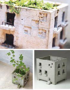 miniature building planter – Keep up with the times. Clay Houses, Ceramic Houses, Ceramic Clay, Ceramic Pottery, Ceramic Plant Pots, Concrete Crafts, Concrete Design, Concrete Planters, Cement Art