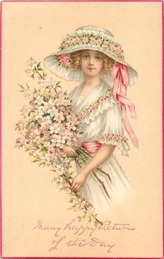 Pretty girl in pink & white, holding pink blossoms