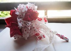 Vintage Fabric Mini Bridal Bouquet  Fabric Wand  by bedouin
