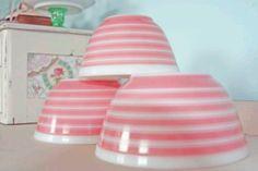 Pink striped Pyrex bowls!