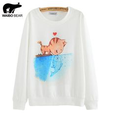 2016 New spring Hoody women Casual hoodies cat kiss fish print tracksuit long sleeve o neck letters sweatshirt for women Top