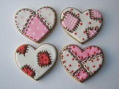 Valentine's Day patchwork heart cookies Fancy Cookies, Iced Cookies, Cute Cookies, Easter Cookies, Cupcake Cookies, Sugar Cookies, Cookie Favors, Christmas Cookies, Valentines Baking