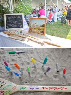 FOR THE KIDS DIY Beach Wedding // .have your guests sign ors to hang in your beach house! Beach Wedding Guests, Nautical Wedding, Wedding Guest Book, Diy Wedding, Dream Wedding, Beach Weddings, Wedding Ideas, Beach Wedding Signs, Wedding Decorations