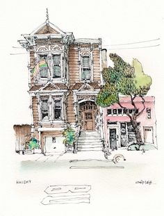 So hard to choose from the many beautiful houses in San Francisco, guess I like the contrast between these two buildings. Watercolor Sketch, Watercolor Print, Watercolor Paintings, Watercolours, Watercolor Architecture, Watercolor Landscape, Chris Lee, Ant Drawing, Painted Lady House