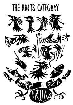 The roots category linocut linogravure motif reggae ska chicken coq poulet rasta musique music batterie instruments guitare basse claviers trompette trumpet bass keyboard drum