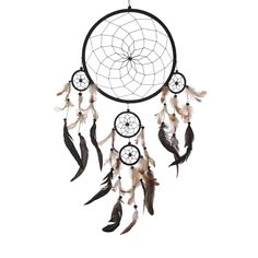 "Dream Catcher ~ Large Traditional Shape All Black with Black, Natural & White Feathers 12"" Diameter & 32"" Long!"