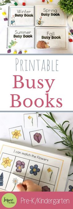 Cute, Printable Busy Books for every season! #Busy #Books #printable #summer #fall #winter #spring #quiet #independent #activity #activities #fun #kids #learn #interactive #homeschool #classroom #intervention #inspirethemom #preschool #kindergarten #shapes #patterns #numbers #spatial #reasoning #tangram #diy #children Interactive Books For Preschoolers, Preschool Books, Free Preschool, Preschool Curriculum, Preschool Printables, Interactive Activities, Preschool Learning, Learning Activities, Preschool Activities