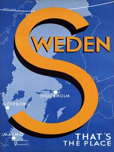 Stockholm Goteborg Malmo Sweden That's the Place Vintage Poster Repro FREE S/H