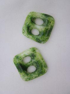 Handmade pair of cast glass buttons - Square aventurine green cream shimmer £8.00
