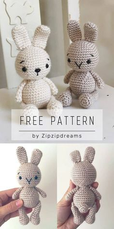 Zipzip Bunny free crochet amigurumi pattern by Elif Tekten This cute little bunny is a fast project to make as a gift for easter or any time of the year Can be made in Crochet Easter, Crochet Bunny Pattern, Crochet Patterns Amigurumi, Crochet Baby, Free Crochet, Knitting Patterns, Crochet Hearts, Ravelry Crochet, Crochet Birds
