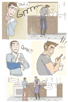 If Stiles is considered packmom, I sincerely think Derek should be referred to as packdad more often. It fits him to a broody T! By n3vh33r4 on Tumblr.