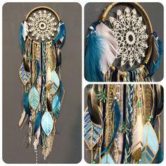 Indigo Mood DreamCatcher with turquoise jewels por RachaelRiceArt