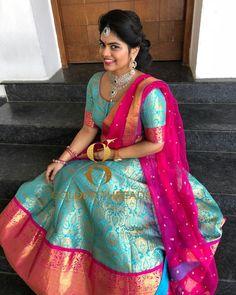 Gorgeous ice blue color banaras kanchi lehenga and blouse with pink net dupatta. Half Saree Lehenga, Lehnga Dress, Lehenga Style, Anarkali, Banarasi Lehenga, Half Saree Designs, Blouse Designs, Dress Indian Style, Indian Wear