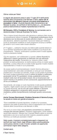 La chiusura della querelle con l'antitrust italiana.