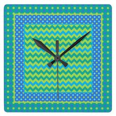 A square Wall Clock, with a 'Blue Moons' mix'n'match pattern of Chevrons and Polka Dots in Dazzling Blue, Neon Green, Turquoise and Emerald Green. Part of the Posh & Painterly 'Blue Moons' collection; from a handpainted paper collage design by Judy Adamson: up to $32.95 - http://www.zazzle.com/square_clock_mixnmatch_chevrons_and_polka_dots-256381048991693808?rf=238041988035411422&tc=pintw