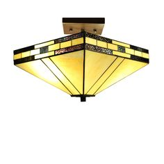 Laida 2-light 14-inch Tiffany-style Ceiling Lamp