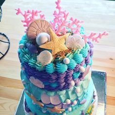 Mermaid cake birthday party