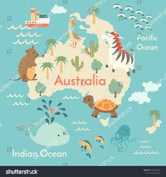 Animals world map, Australia.Australia map for children,kids. Australian animals poster.Australia continent with animals, sea life.Vector illustration,preschool, baby, continents, oceans, drawn, Earth