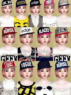 New Snapback for both genders by JS Sims 3 - Sims 3 Downloads CC Caboodle