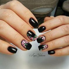 30 Black Nail Designs That Are Anything but Goth Cute Nail Art, Cute Nails, Pretty Nails, Fall Nail Art Designs, Black Nail Designs, Crazy Nails, Fancy Nails, Flower Nail Art, Nagel Gel