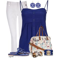 A fashion look from July 2013 featuring 2Two tops, Wallis capri y Tory Burch sandals. Browse and shop related looks.