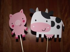 Cow and Pig - barnyard animals, farm animal themed centerpieces