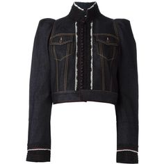 Dsquared2 embroidered cropped denim jacket ($2,440) ❤ liked on Polyvore featuring outerwear and jackets