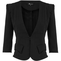 Black 3/4 sleeve blazer ❤ liked on Polyvore
