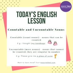 What are countable and uncountable nouns? Learning English Is Fun, English Fun, English Lessons, Learn English, Uncountable Nouns, Possessive Nouns, Esl Resources, English Language Learners, Grammar Lessons
