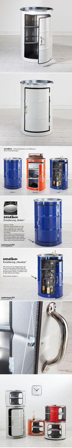 Saw-w-oil drum cupboard // man cave Barrel Furniture, Cool Furniture, Furniture Design, Cardboard Furniture, Metal Projects, Home Projects, Oil Barrel, 55 Gallon Drum, Oil Drum