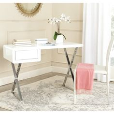 Safavieh Berkley White/ Chrome Desk | Overstock.com Shopping - The Best Deals on Desks