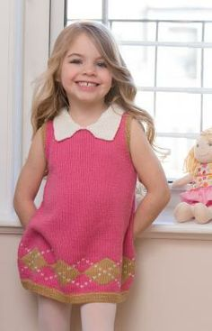 Your little girl will travel from ballet class to soccer practice in style while wearing the Girl's Stockinette Argyle Dress. This darling knit dress pattern is a stylish take on a timeless design. Knitting For Kids, Baby Knitting Patterns, Crochet For Kids, Free Knitting, Knit Crochet, Tricot D'art, Free Sewing, Knit Dress, Free Pattern