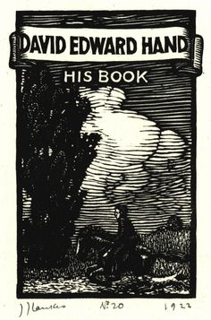 LANKES, JULIUS J. (1884-1960), USA, for David Edward Hand Bookplate, 1922. J. J. Lankes Catalog Raisonne