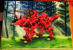 Acrylic painting on streched canvas. Size:30*40cm;A/3. Theme: Anime. Anime:ZOIDS. Character: Shadow Fox. :) Future fantasy - mecha theme too. :)