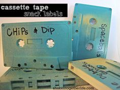 Cassette tape food labels- shaken together: {create this} 80s party BIG REVEAL