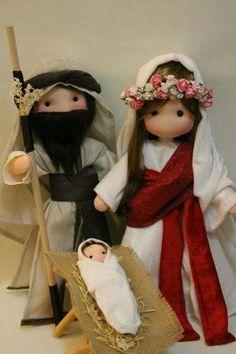 Christmas Nativity Scene, Nativity Crafts, Christmas Deco, Christmas Ornaments, Christmas Crafts For Kids, Xmas Crafts, Kawaii Doll, Felt Baby, Waldorf Dolls