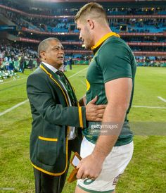 Malcolm Marx of the Springboks is congratulated by coach Allister Coetzee after receiving man of the match award during the Castle Lager Incoming Series Test between South Africa and France at Loftus Versfeld on June 2017 in Pretoria, South Africa. Man Of The Match, Stock Pictures, Rugby, Royalty Free Photos, South Africa, Castle, Handsome, France, Baseball Cards