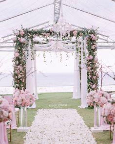 Pink blush outdoor wedding ceremony,