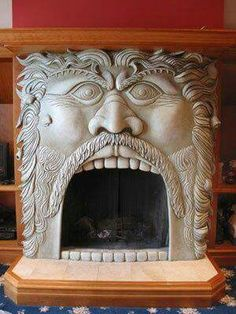 A unique fireplace design truly sets your home or office apart. See an amazing collection of the most unusual and innovative fireplace designs from around the world! Art Nouveau, Fireplace Design, Fireplace Cover, 1930s Fireplace, Tile Fireplace, Inglenook Fireplace, Stone Fireplaces, Fireplace Ideas, Fireplace Mantels
