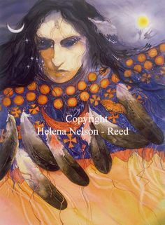 Helen Nelson Reed American Visionary Watercolor painter primary focus is exploring the collective consciousness and the portrayal of archetypal imagery in the tradition of Carl Jung and Joseph Campbell. Native American Artwork, Native American Artists, Native American Indians, Native Americans, Rainbow Warrior, Samana, Visionary Art, Fantasy, Native Art