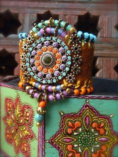 Native tribal LEATHER CUFF BRACELET Mandala Flower charm by GPyoga on Etsy