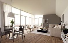 living room, Interior Living Room Designs Ideas With Wooden Flooring Design With White Fur Rug And Coffe Table Design With Round Dining Sets Design With Floor Lamp And L Shaped Sofa With Cushion With Glass Door And Curtain: Wonderful Interior Living Room Designs with Modern Style