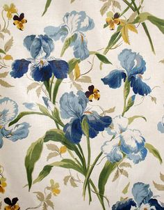 "Colefax and Fowler ""Beaufort"" Blue Irises Chintz  56"" Wide 6 Yards Available"