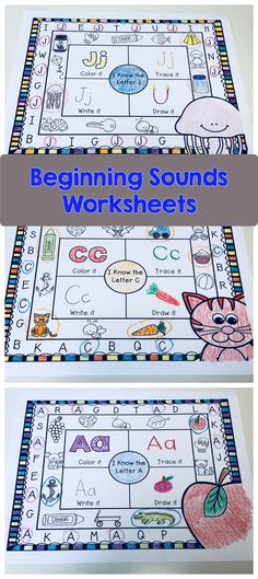 Beginning Sounds worksheets. Students will have fun circling the correct letter, coloring the pictures that begin with the correct letter, drawing, writing, and tracing the letter! Alphabet Activities, Teaching Activities, Teaching Tools, Teaching Ideas, Autism Teaching, Alphabet Crafts, Preschool Curriculum, Kindergarten Literacy, Preschool Learning