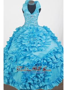 Luxurious Beading Hand Made Flowers Ball Gown Little Girl Pageant Dress Halter Top Floor-length- $186.59 www.fashionos.com luxurious and fancinating petite miss dresses   2013 brilliant and fabulous little girl pageant dress   bright and attractive little miss dresses   glimmering and shinning little girl pageant dresses of most beautiful child   glamorous and wonderful dresses for glitz pageants 2015 spring   new and charming dresses of baby miss in tourcoing  