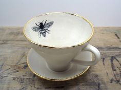Honey Bee White and Gold Porcelain Tea Cup & Saucer or Mug-Wedding Gift, Gift for Mom, Hostess Gift Cute Tea Cups, Queen Bees, Tea Cup Saucer, Fine China, Hostess Gifts, Safe Food, Tea Party, Gifts For Mom, Wedding Gifts