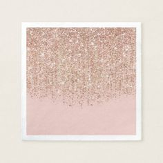 Shop Blush Pink & Rose Gold Glitter Glam Party Napkins created by printabledigidesigns.