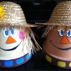 Clay pot scarecrows