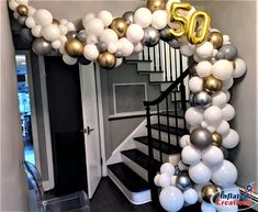 """Birthday or Anniversary Organic Staircase treatment. """"Party Rentals"""" """"PJs Rentals"""" """"Rental Images"""" """"Party Equipment"""" """"Event Rentals"""" """"Balloon Del… - Decoration For Home Balloon Columns, Balloon Arch, Balloon Garland, Casino Night Party, Casino Theme Parties, Balloon Centerpieces, Balloon Decorations, Santorini, Balloon Delivery"""